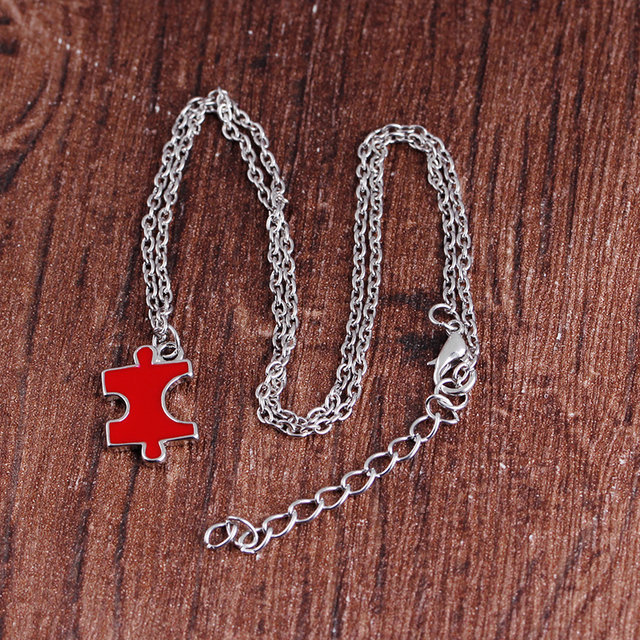4 kawałki autyzm Puzzle naszyjnik zestaw najlepszy przyjaciel siostra naszyjniki pasujące kolorowe emalia biżuteria przyjaźni Party zestaw podarunkowy