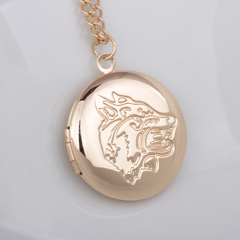 Silver Gold Round Pendants Can Open Photo Locket Necklaces Animal Wolf Head Necklace Jewelry For Women Men Gift locket
