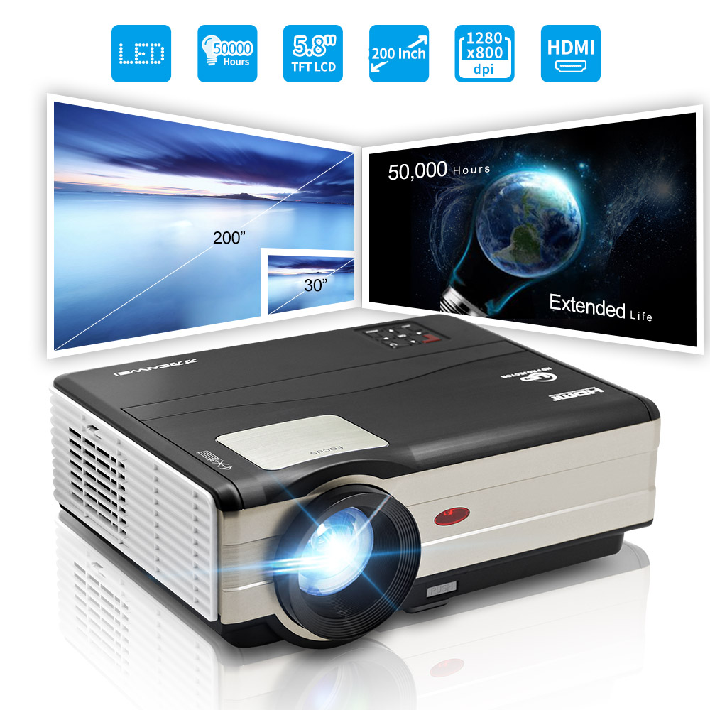 LED Home Theater Projector LCD proyector 1080P Full HD Video Game USB HDMI TV VGA connecting smartphone laptop 5000 lumens cheerlux cl740 wt mstar lcd home theater projector w led analog tv vga ypbpr hdmi white