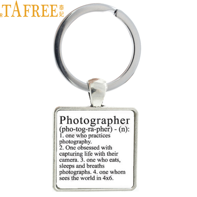 US $1 02 49% OFF|TAFREE Photographer keychain Photographers Dictionary  Definition key chain ring holder men photography lovers gift jewelry  AA53-in