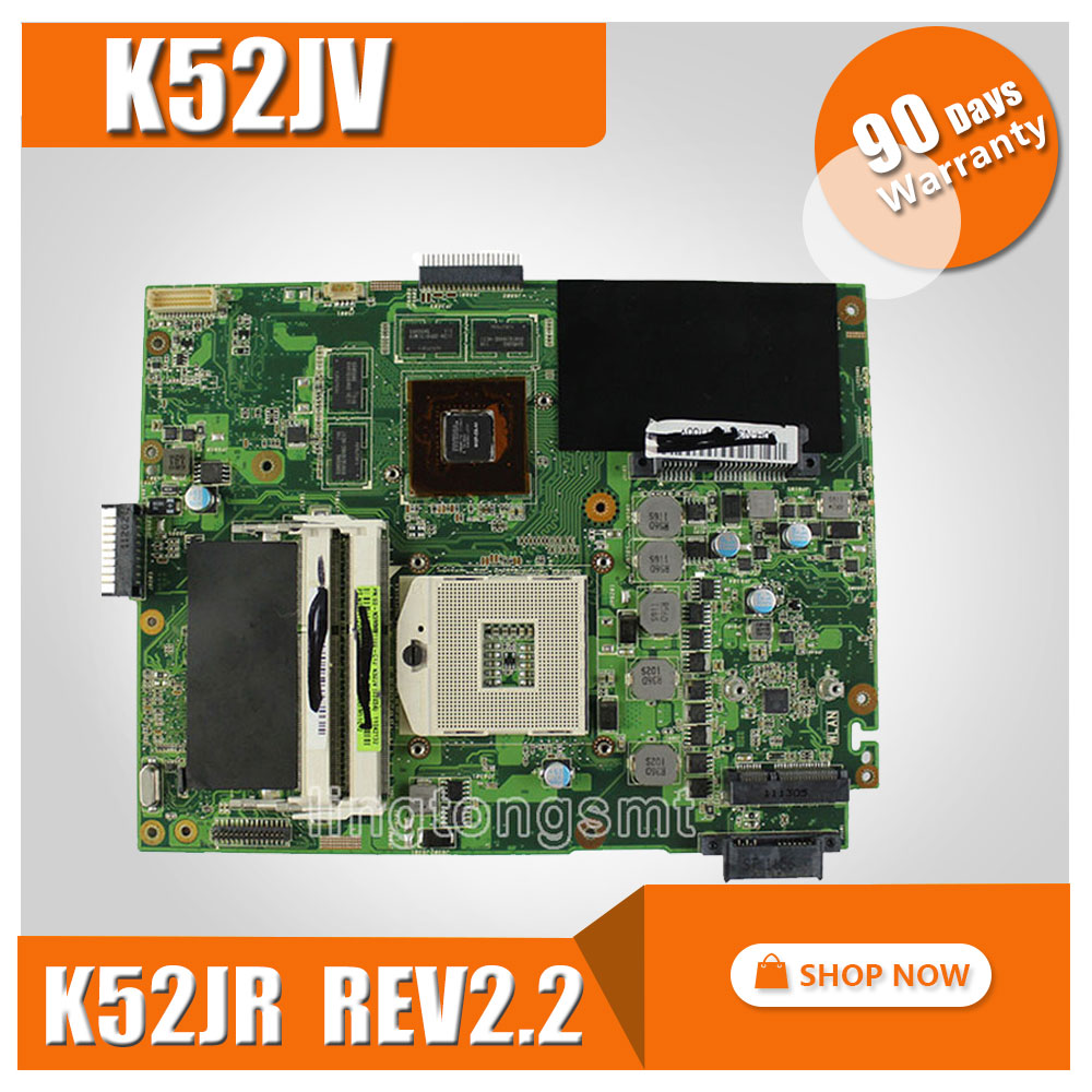 Original K52JV for ASUS Laptop Motherboard K52JV K52JR REV: 2.2 GT540M 8 pieces video card memory Mainboard Working perfect for asus k52jr laptop motherboard ddr3 rev 2 3a 8 pieces video memory fit for k52j a52j k52jt mainboard test and free shiopping