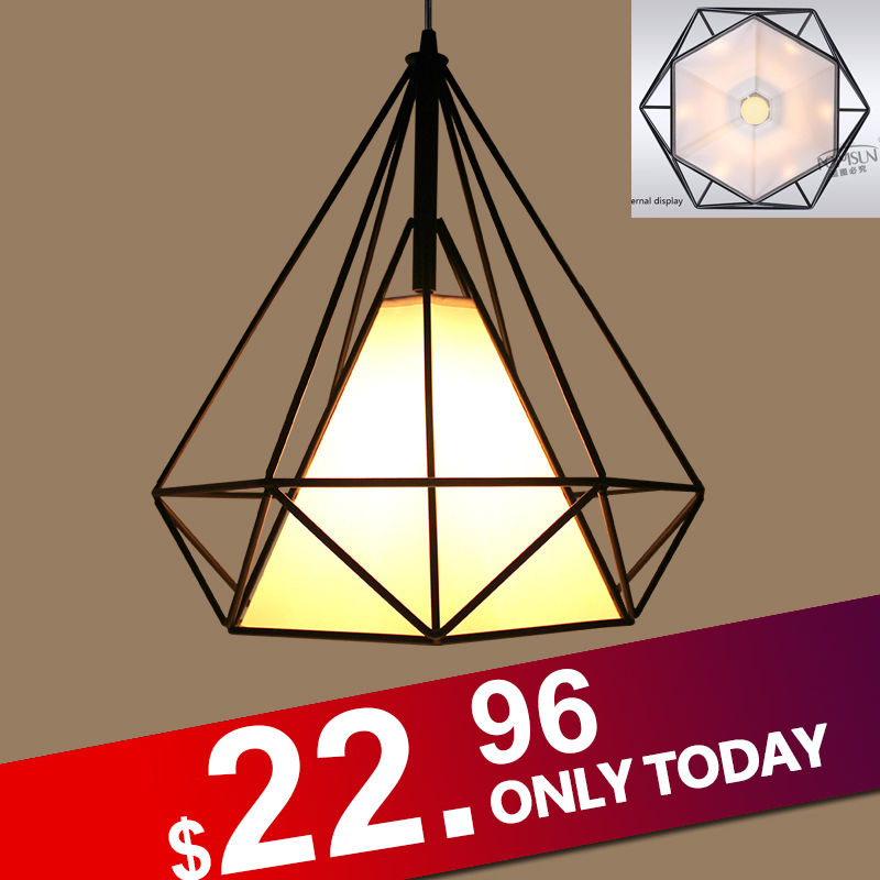 modern black birdcage pendant lights iron minimalist retro light  Scandinavian loft  pyramid lamp metal cage with led bulb free shipping remote control colorful modern minimalist led pyramid light of decoration led night lamp for christmas gifts