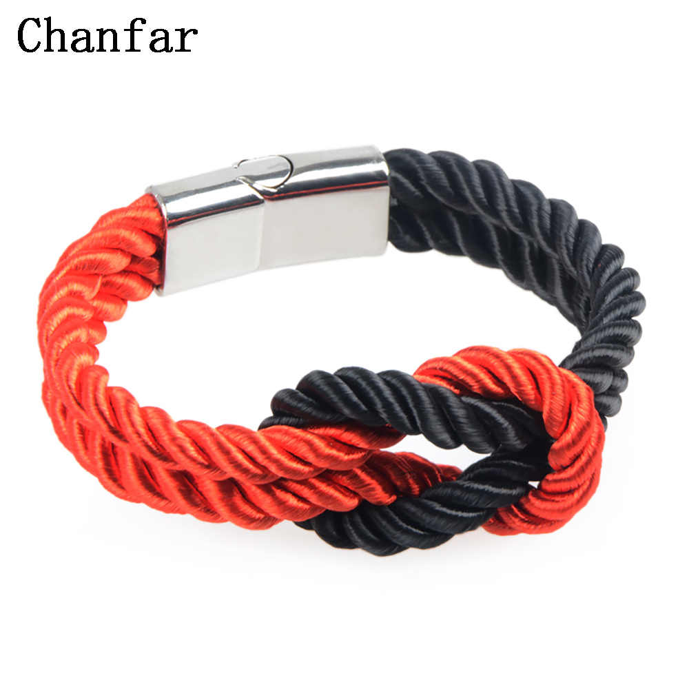Chanfar Trendy Colorful Braided Rope Chain Magnetic Clasp Knot Bracelets & Bangles for Women Men Jewelry Color Selection