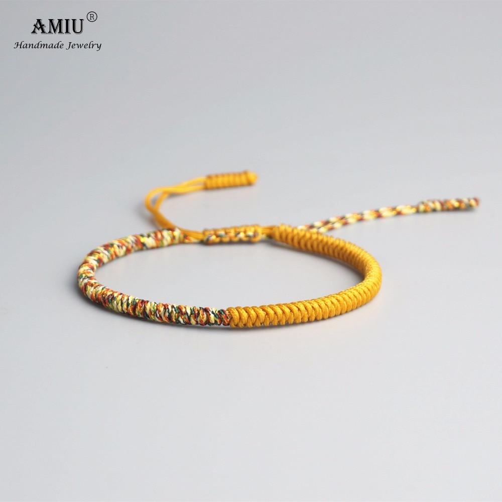 AMIU Tibetan Buddhist Lucky Charm Tibetan Bracelets & Bangles For Women Men Handmade Knots Colorful Rope Gift Bracelet