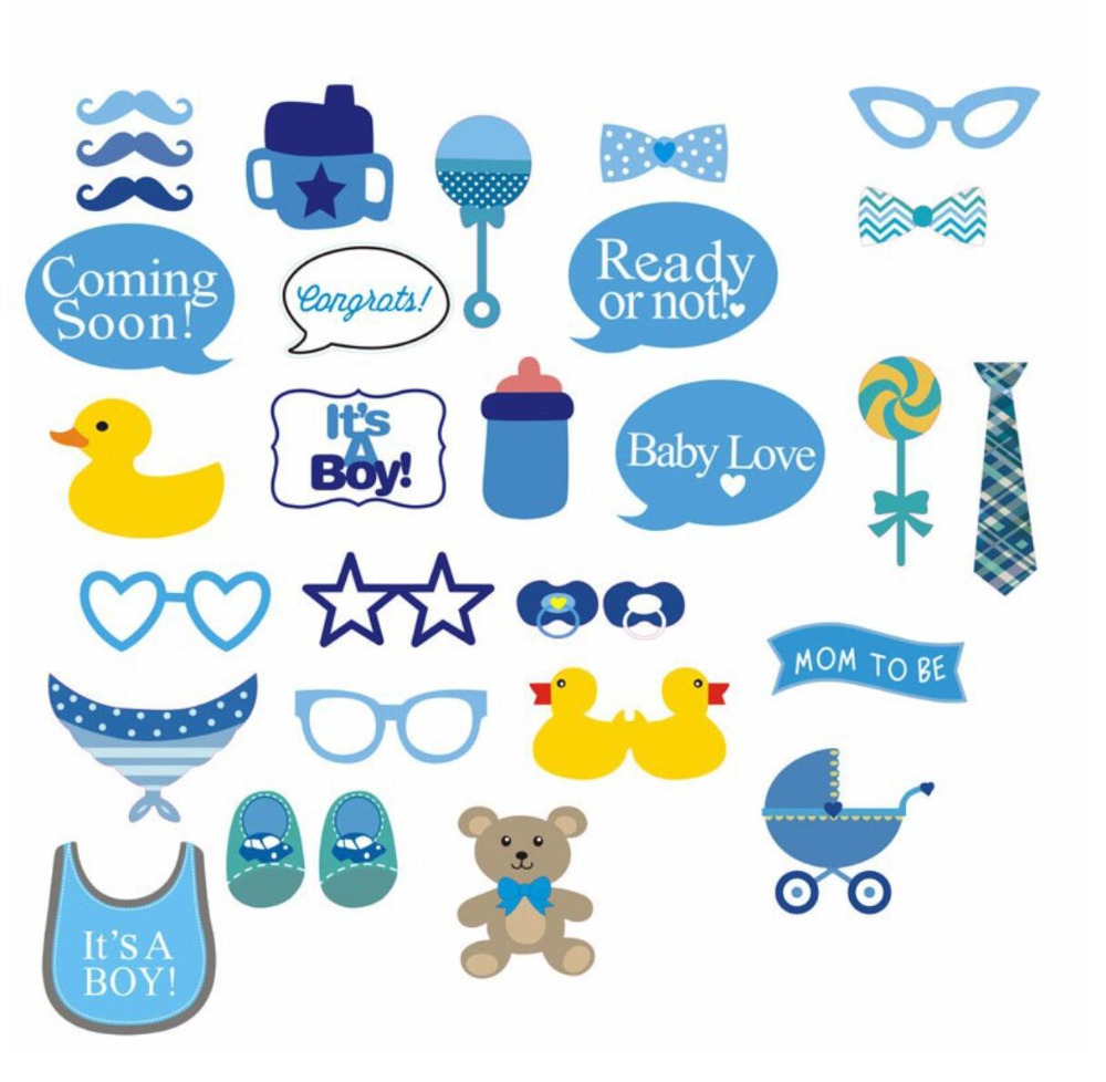 GiveU New Product 30pcs/lot DIY Baby Boy or Girl Baby Shower Photo ...