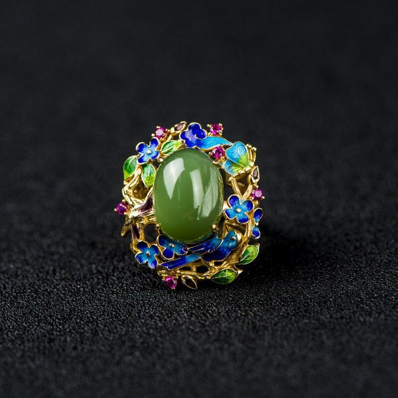 925 bague en argent cloisonné artisanat émail papillon fleur incrusté pierre naturelle bague en argent