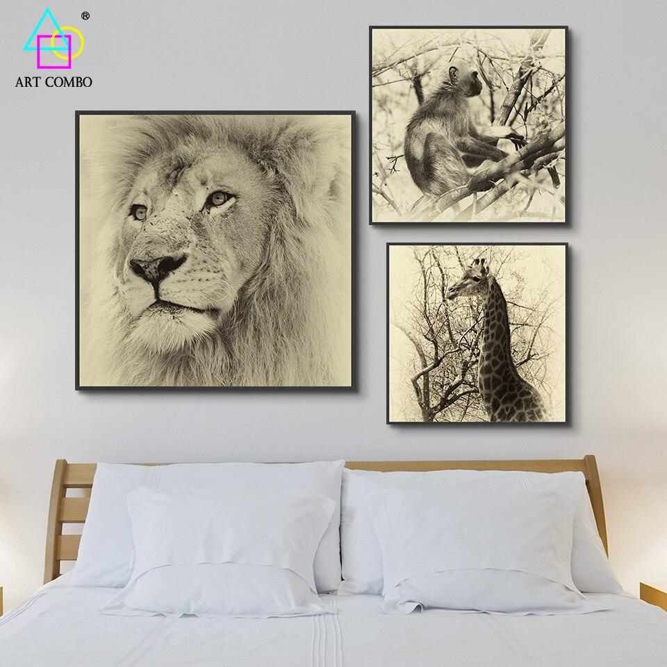Realismo Zebra Mono León Jirafa Ciervos Animales Lienzo de Pintura ...
