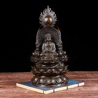 GOOD BUDDHA HOME bless protect Talisman Buddhism handmade 3 face Buddha Lotus RULAI Guan yin Ksitigarbha bronze statue