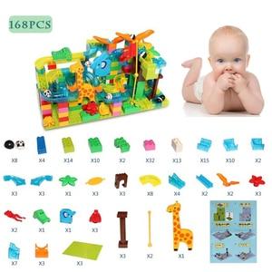 Image 3 - 168 pçs mármore corrida labirinto bola slide pista cidade blocos de construção plástico crianças educacionais montar brinquedos para crianças presentes