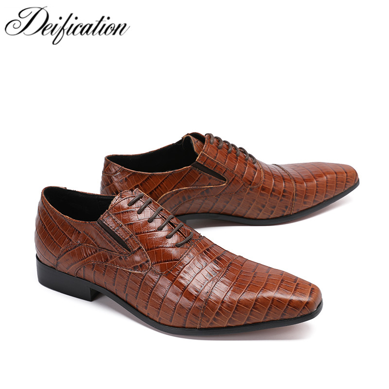Deification Italian Retro Style Tan Genuine Leather Man Shoes Lace Up Checkered Loafers Business Wedding Formal Shoes Mens FlatsDeification Italian Retro Style Tan Genuine Leather Man Shoes Lace Up Checkered Loafers Business Wedding Formal Shoes Mens Flats