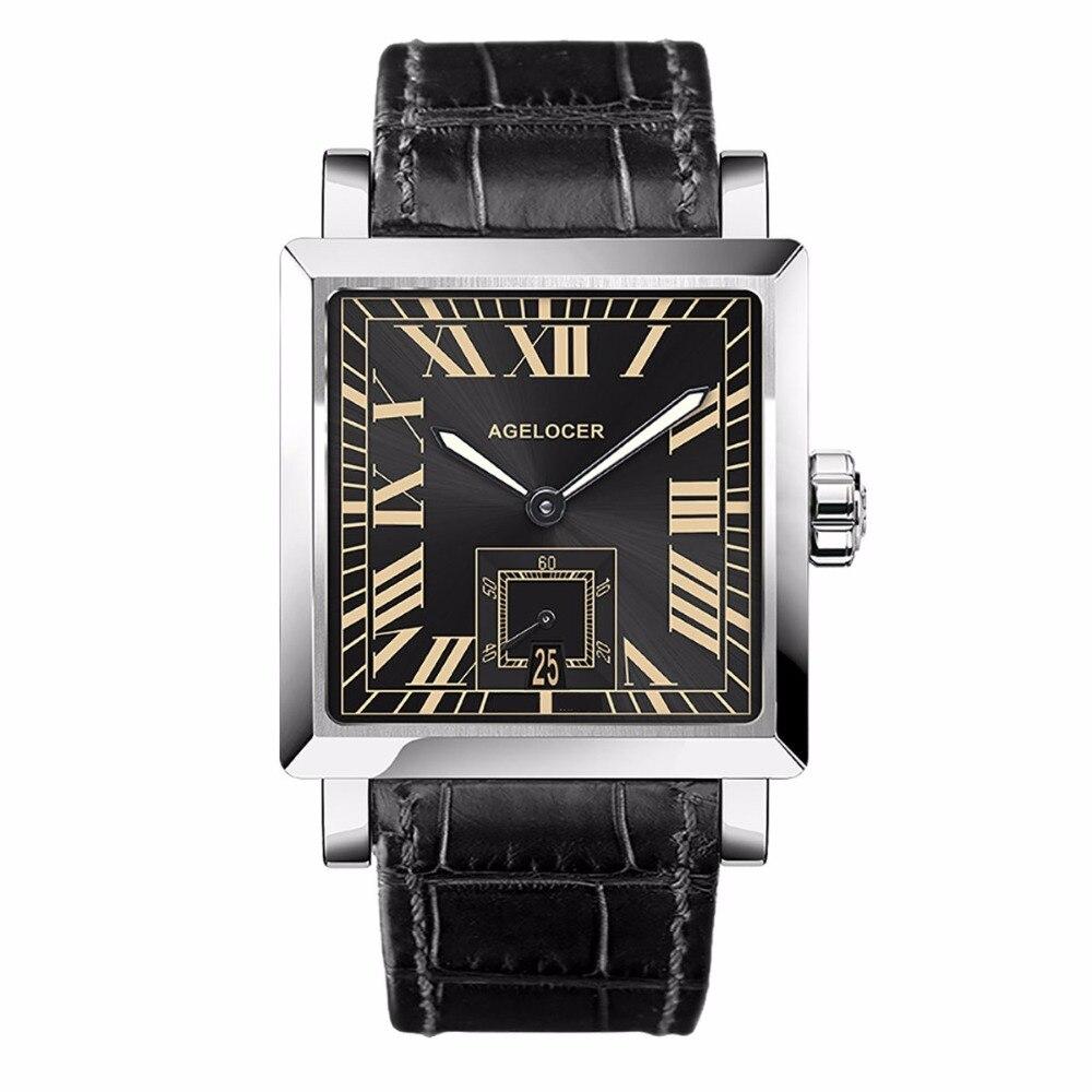 Agelocer montres de mode pour hommes cadran noir chiffre romain montres mécaniques analogiques bracelet en cuir montres en acier 3303A1