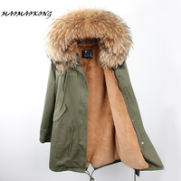 Brand 2017 Women Winter Jacket Long Detachable Lining Army Green Parkas Large Real Raccoon Fur Hooded