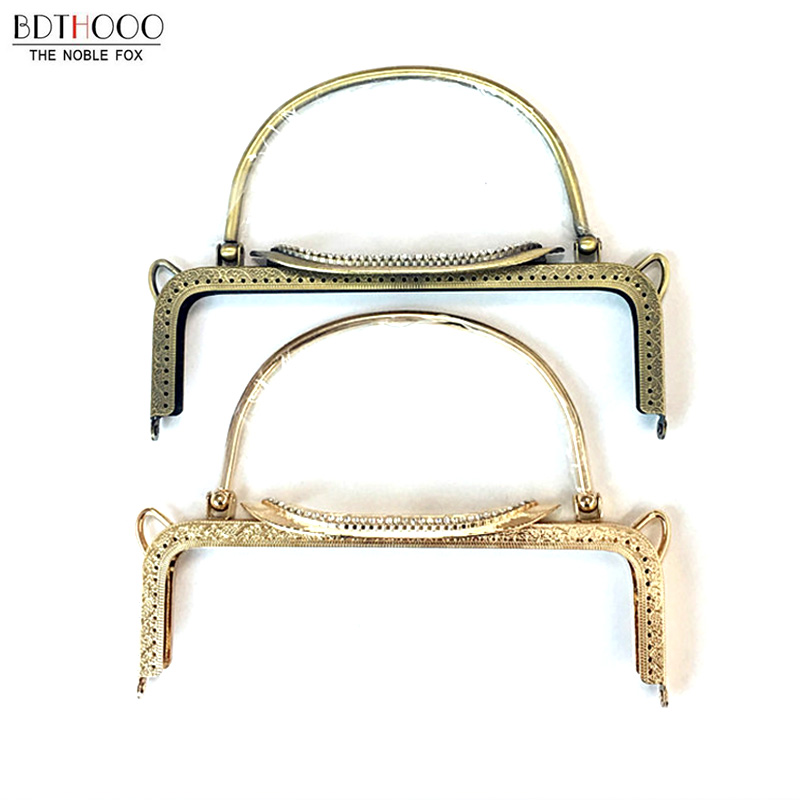 22cm Vintage Bag Frame Metal Purse Frame For Handbag Square Embossing Kiss Clasp Handle DIY Bag Accessories