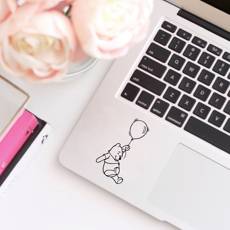 Winnie The Pooh Vinyl Sticker Laptop Decals for Apple Macbook Pro / Air Decoration , Cute Pooh Bear Decal Car Window Decor(China)