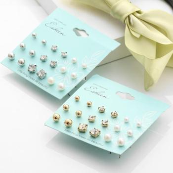Rhinestone Bead Pierced Elegant Stud Clip Set Women Metal Pearl Earring gold earrings for women