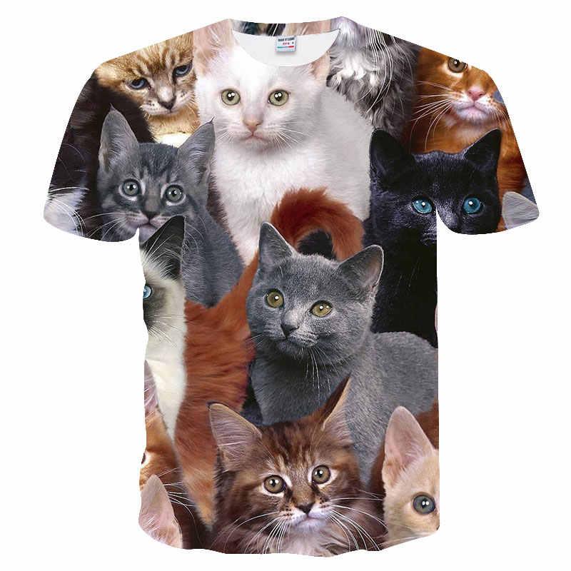 Лидер продаж, футболка с спокойными кошками, унисекс, пушистая Милая футболка с кошачьими мордочками, потрясающая футболка для женщин и мужчин, 3D летняя футболка, camisas mujer