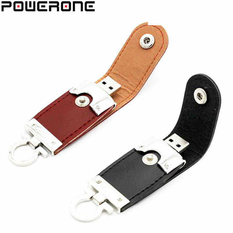 POWERONE Atacado couro usb flash drive chaveiro pele 8 pendrives gb gb 64 32 gb memory stick 4 comercial gb 16 gb usb creativo
