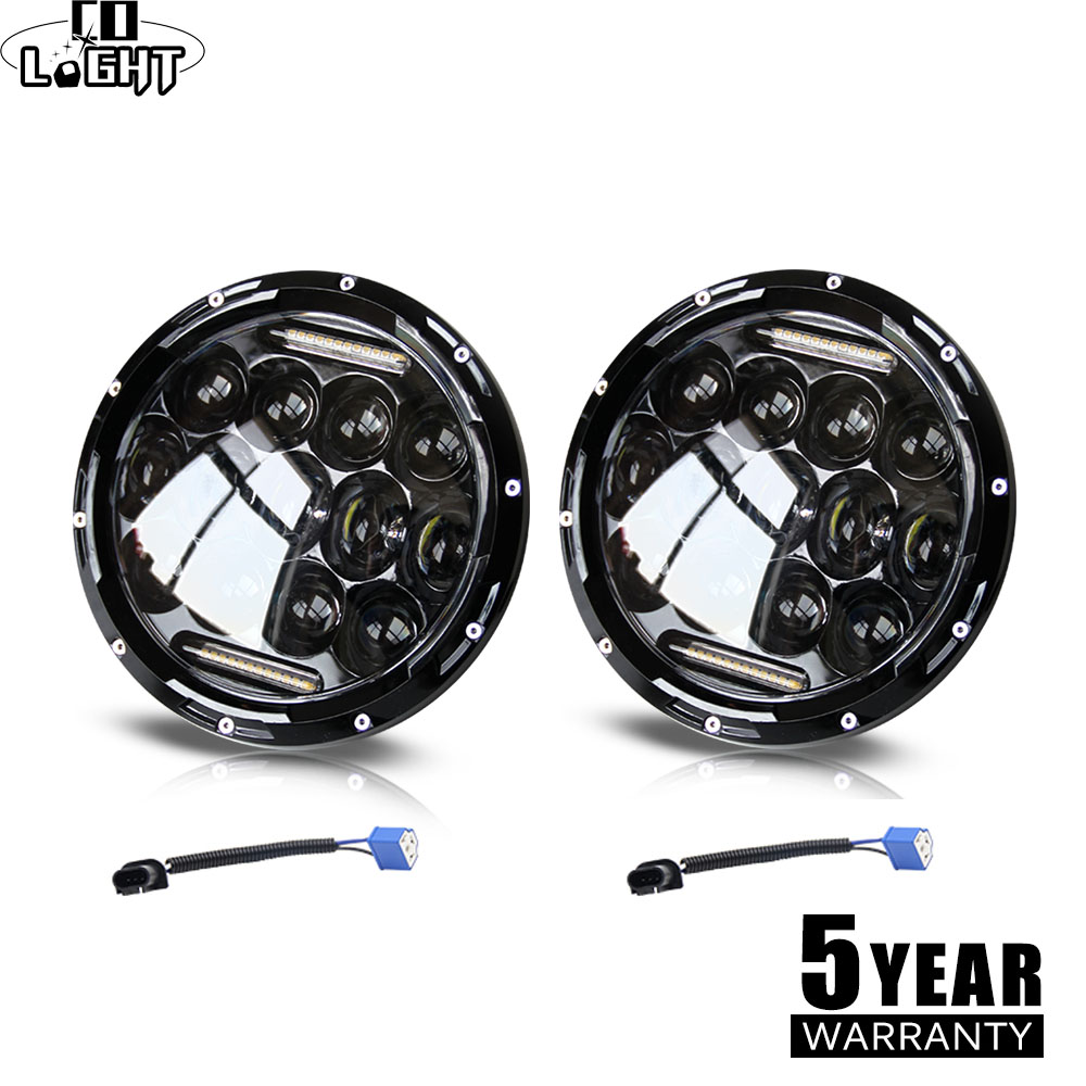 CO LIGHT 7 inch 75W Led Headlight High Low Beam 12V Led DRL H4 H13 Auto Headlamp for Jeep Wrangler Offroad 4x4 Harley Lada 4x4 7 inch headlight h4 motorcycle round led headlamp daymaker hi low beam head light bulb drl for harley jeep wrangler