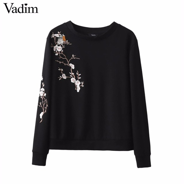 Women sweet floral bird embroidery sweatshirts long sleeve O-neck pullovers femininas casual streetwear loose tops SW1110