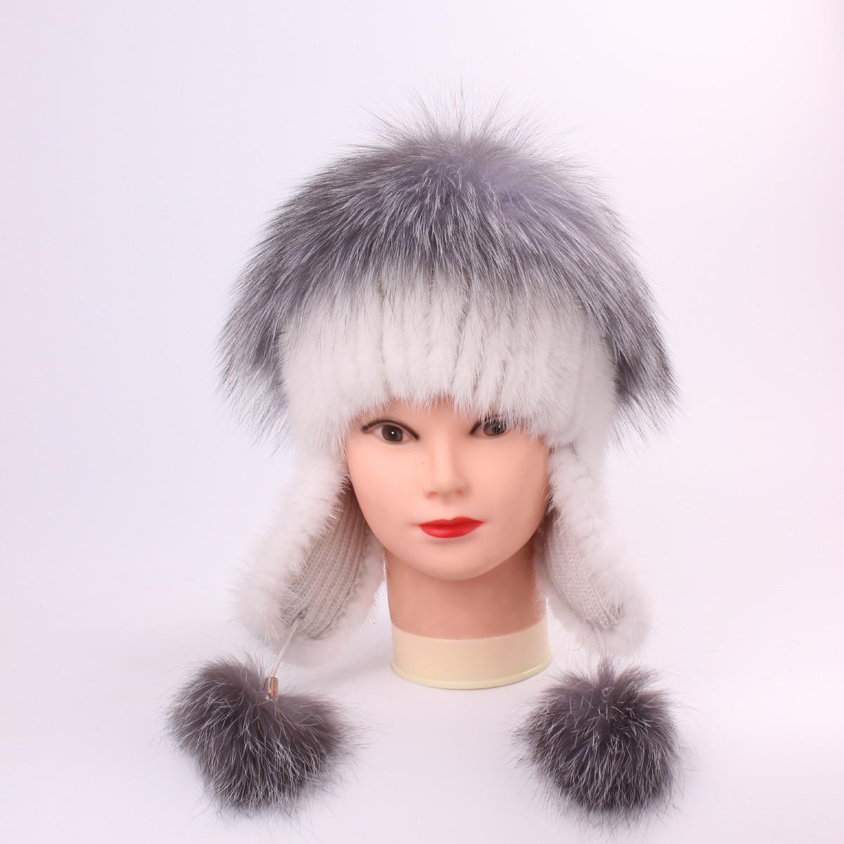 Vison fourrure herbe madame renard cheveux chapeaux pour femmes manuel coudre haute Archives hiver cagoule garder au chaud chapeaux femme chapeau femme