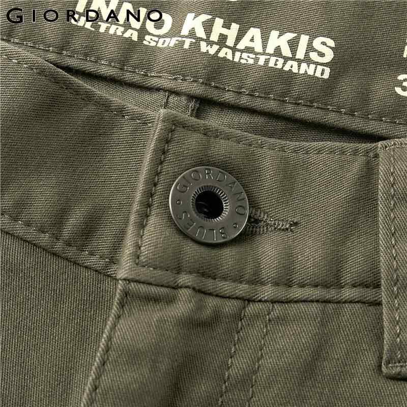 جيوردانو الرجال السراويل الرجال بسط القطن دنة بلون سراويل تقليدية الرجال البريدي الجبهة زر إغلاق Pantalones هومبر