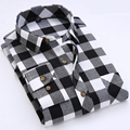 Primavera 2017 Dos Homens Escovado Flanela de Manga Comprida Xadrez Camisa de Colarinho Quadrado Clássico-fit Soft Comfort Cotton Mistura Casual camisas