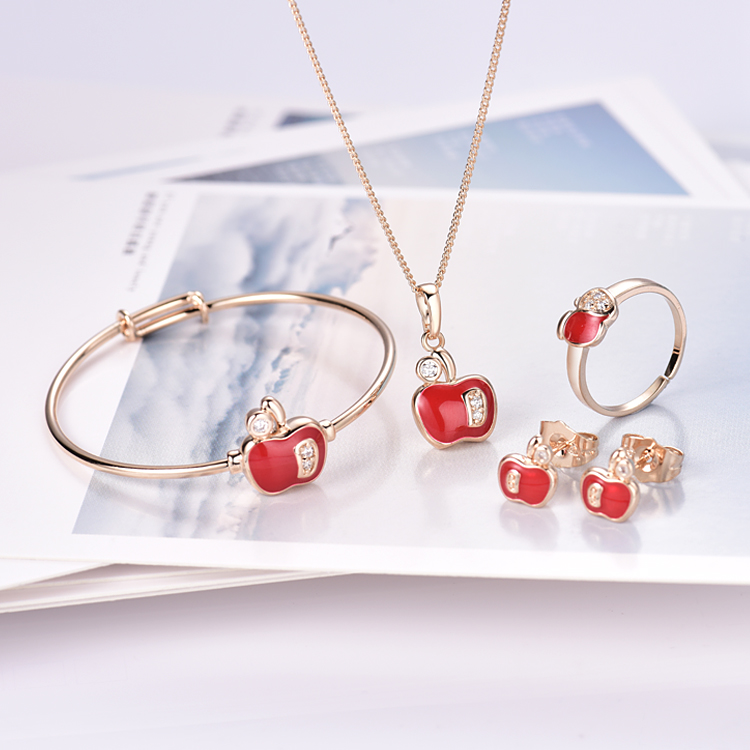 New Brand Red Apple Girls Baby Jewelry Set Gold-Color Pendant Necklace Bangle Ear Ring Earrings Christmas Gifts 8S18K-95