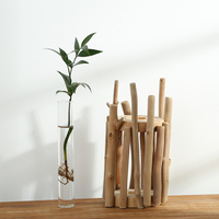 100 Handmade Wooden Tabletop Vase With Glass Tube Creative Natural Wood Home Shop Decor Birthday Gift