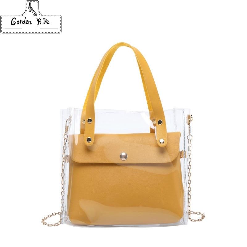 Small Leather Handbags For Women 2019 Transperent PVC Hand Bags Female Mini Shoulder Bag Black Crossbody Messenger Phone Pouch