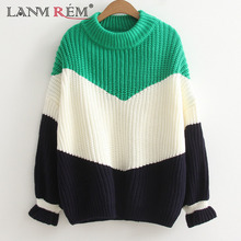 LANMREM 2018 New Autumn Fashion Tide Round Collar Butterfly Sleeve Patchwork Hit Color Loose Casual Woman Sweater SA853