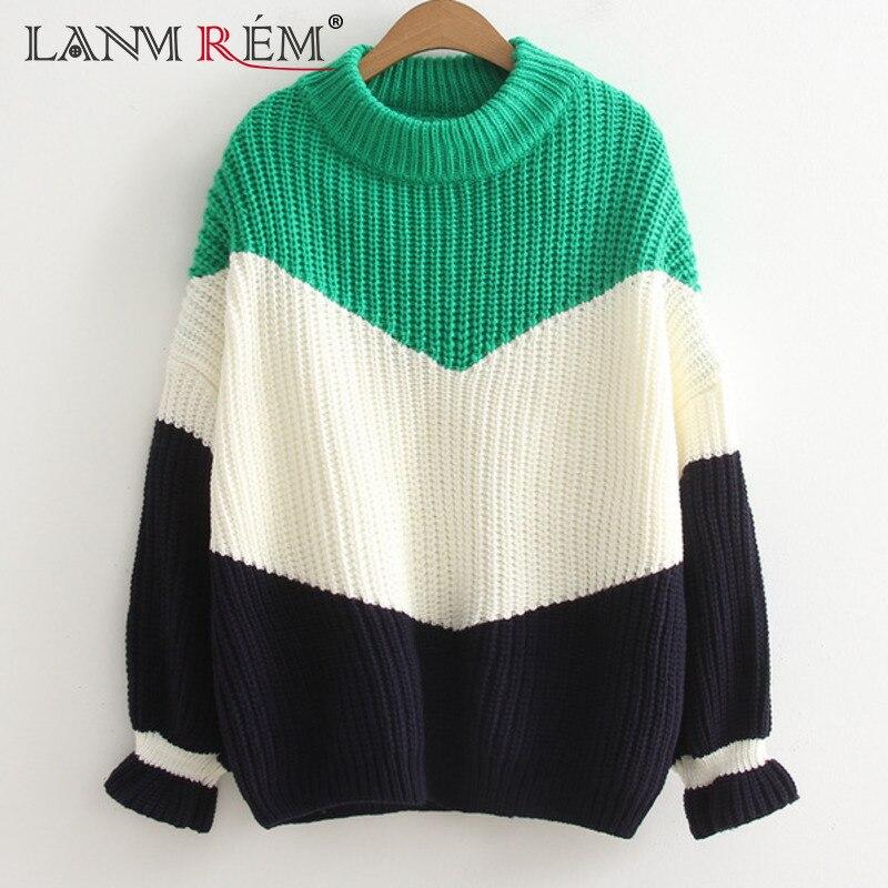 LANMREM 2018 nuevo Otoño de marea de la moda de cuello redondo de Manga mariposa Patchwork Color suelto Casual suéter de mujer SA853