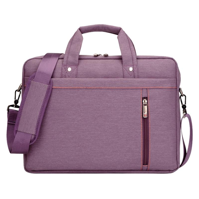 15 Inch big size Nylon Computer Laptop Solid Notebook Tablet Bag Bags Case Messenger Shoulder unisex men women Durable (Purple)