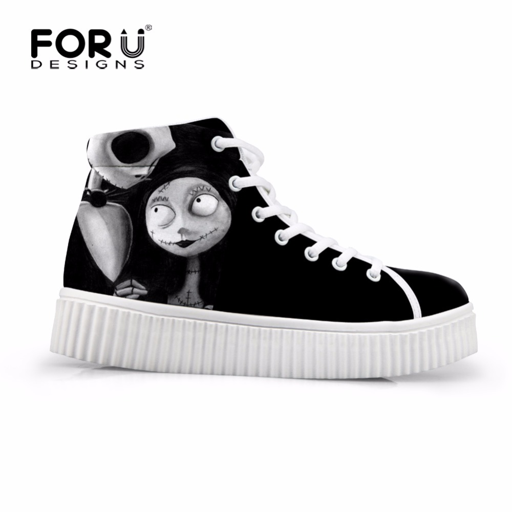 FORUDESIGNS Hot Sale Women High Top Height Increasing Shoes Black Punk Skull Flats Platform Female Casual Shoes Zapatos Mujer forudesigns fashion women height increasing flats shoes 3d pretty flower rose printed casual high top shoes for female platform