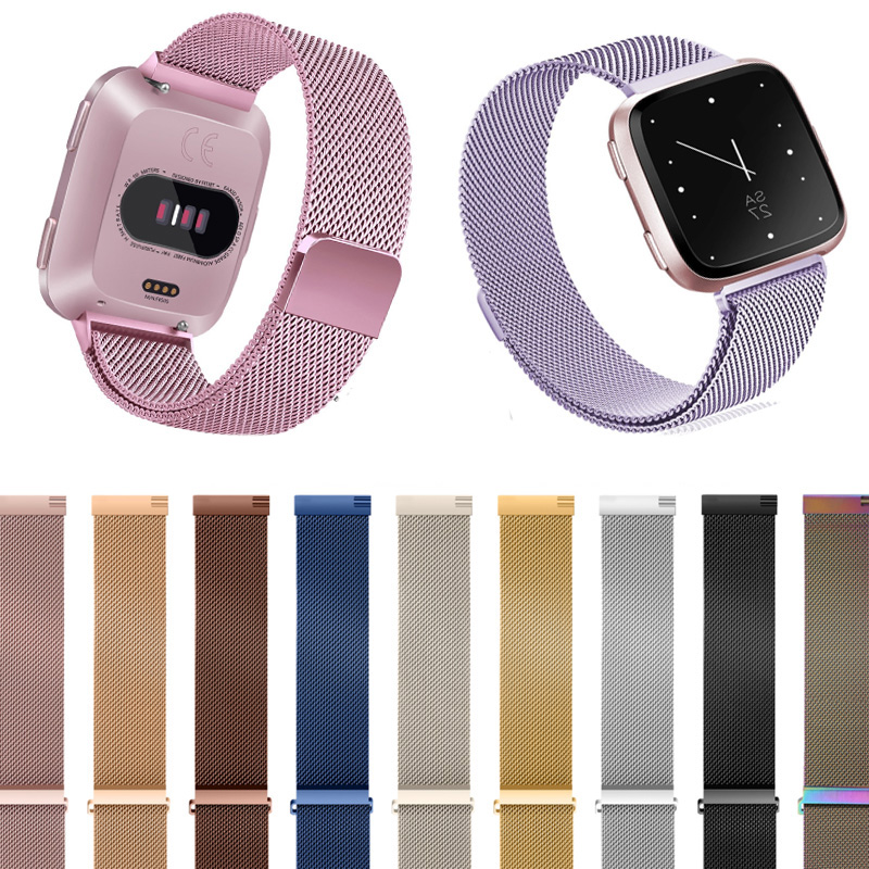 Milanese Loop Watch Band Stainless Steel Magnetic Closure Bracelet Strap Wristband Watchband for Fitbit Versa Smartwatch Fitnes