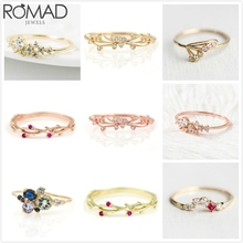 ROMAD Dainty Zircon Rings For Women Wedding Flower Crystal Ring Rose Gold Rattan Thin Bridal anillos Girl Party Jewelry R5