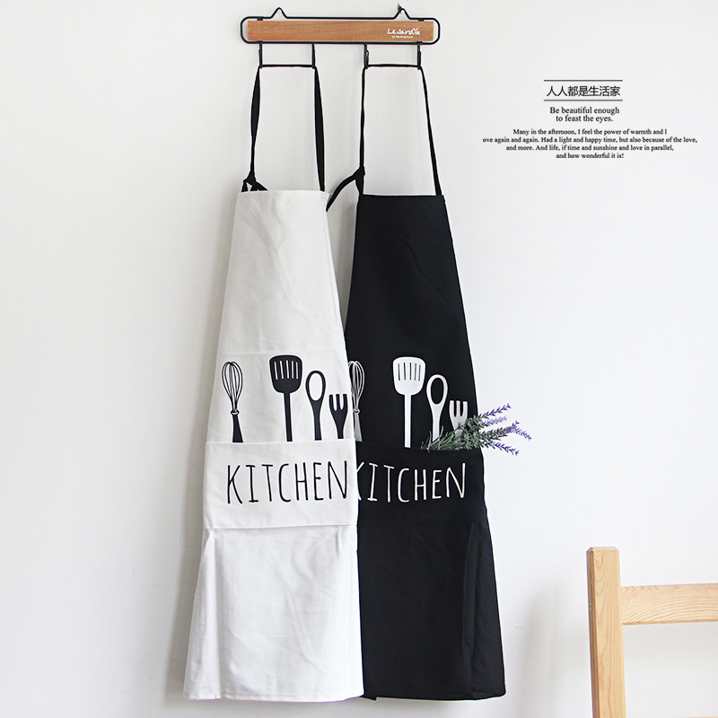 US $11.19 30% OFF|Black and white 100% cotton sleeveless apron with hand  towel kitchen apron pocket body overclothes for woman kitchen cooking  too-in ...