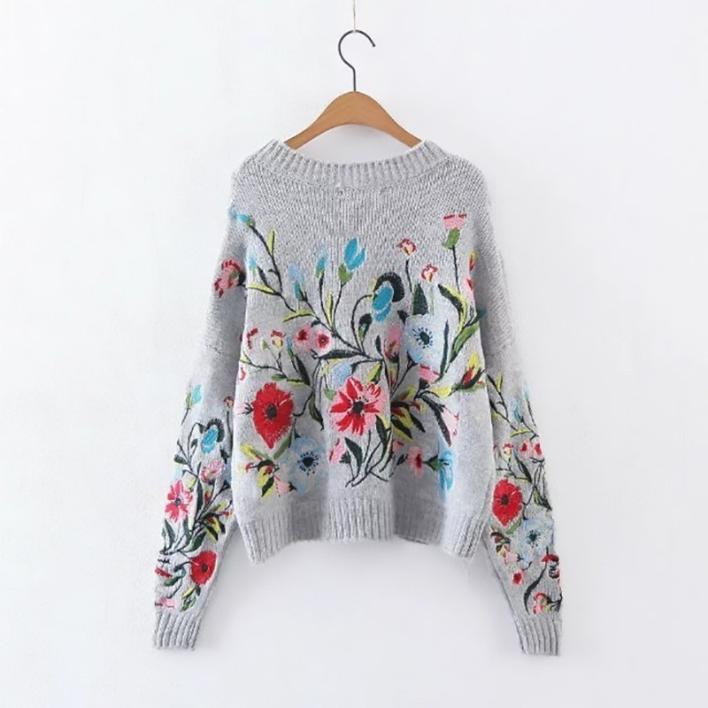 Flower Embroidered Sweater  1
