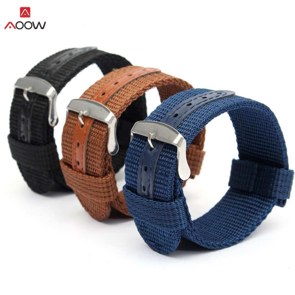 AOOW Nylon Watchband 18mm 20mm 22mm 24mm Replacement Belt Watch Band Strap Wrist Strap Watch Accessories Universal Hot Sell цена