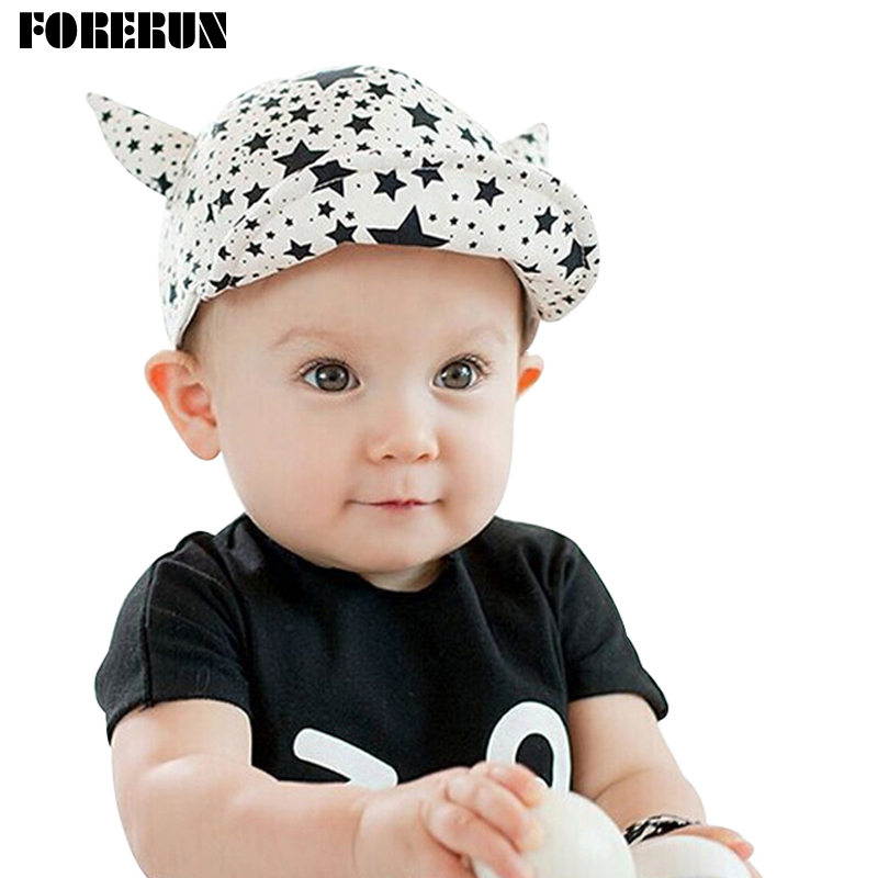 3223d31a90c 2018 New Baby Hat with OX-horns Cartoon Stars Print Kids Baseball Hat Baby  Boy