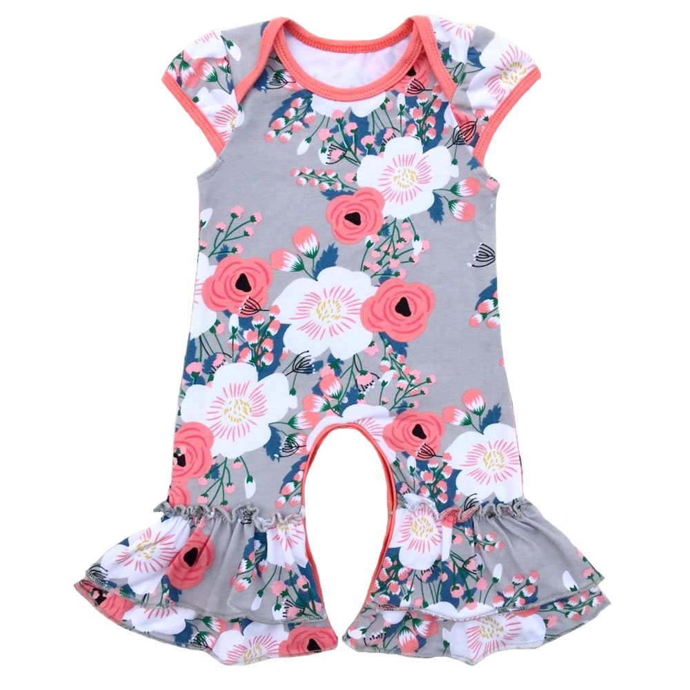 Sister Twins Wholesale baby rompers kids clothes cotton boutique cap sleeve ruffle floral infant romper warm thicken baby rompers long sleeve organic cotton autumn