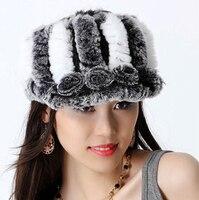 Women's winter hats fashion New rose Knitted genuine rex rabbit fur Beanie hip hop style