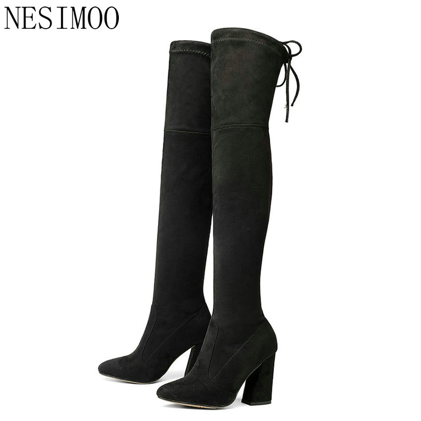 NESIMOO 2018 Women Boots Over The Knee Boots Lace Up Square High Heel Round Toe Women Boots Stretch Fabric Boots Size 34-43 wetkiss new holed denim over the knee women boots round toe high heel footwear ripped sewing square heel ladies stretch boots