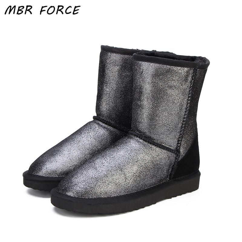 MBR FORCE Top Qualité En Cuir Véritable Neige Bottes pour Femmes Bottes D'hiver Imperméables Femmes Bottes 2 Couleur chaussures NOUS 4 -13
