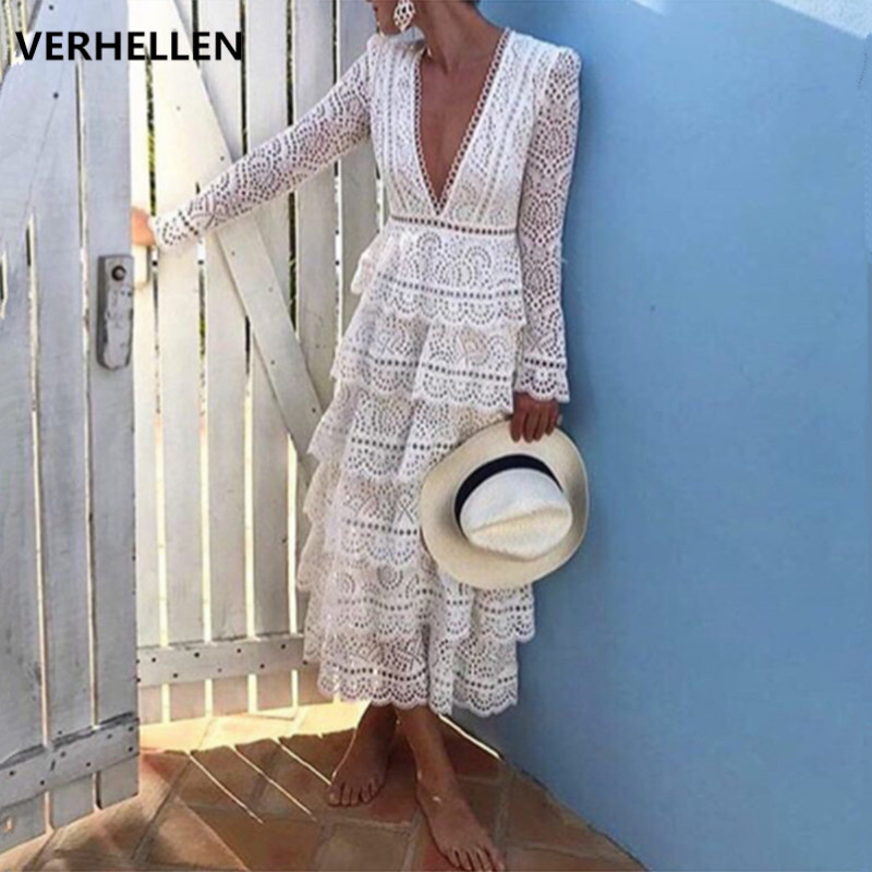 VERHELLEN High Quality Self Portrait Dress Runway 2019 Autumn Women s Long Sleeve Sexy V neck