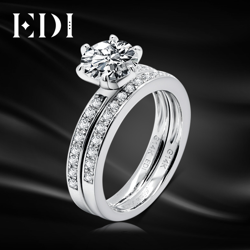 EDI Moissanite Wedding Sets 14K White Gold 1CT Round Lab Grown Diamond Classic Engagement Ring Bridal