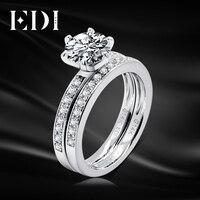 Brilliant Round Diamond Bridal Set 14K Solid White Gold 1CT Lab Grown Diamond Classic Engagement Ring