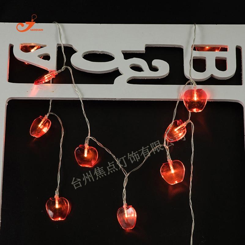 Diy 5 Pvc Led Landscape Lights: Fruit Red Apple 10 LED String Lights PVC Tablet Garden