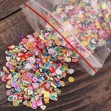 1000 шт/1 пакет DIY 3D дизайн ногтей Полимерная глина крошечные Fimo цветок фрукты наклейка перо кончик дизайн ногтей украшения оптом 11,11