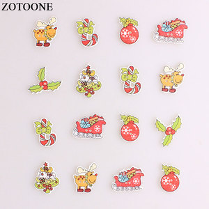 ZOTOONE Mix Christmas Elk Tree Wodden Buttons For Clothing DIY Scrapbooking Needlework Craft Sewing Wood Buttons Accessories E