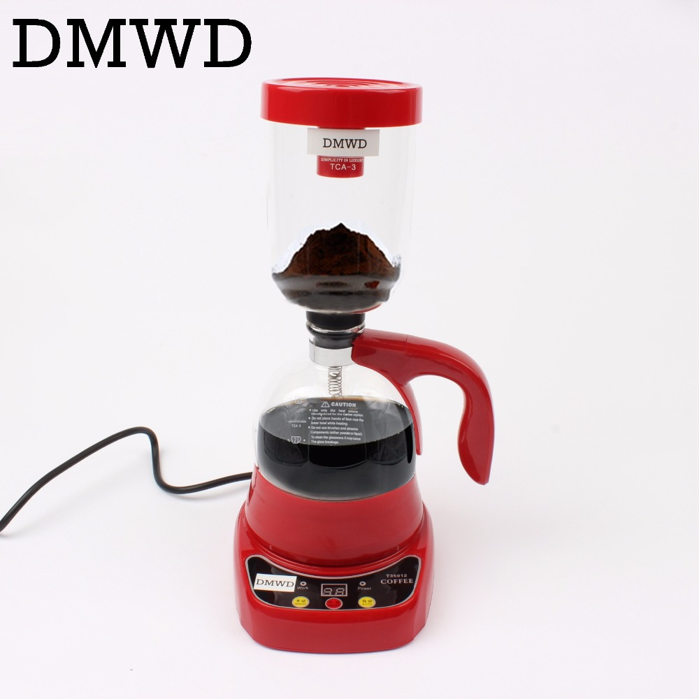 DMWD coffee maker Electric Japan style Siphon coffee machine Drip tea Siphon Pots glass Hourglass Japanese coffee Filter 3 cups цена